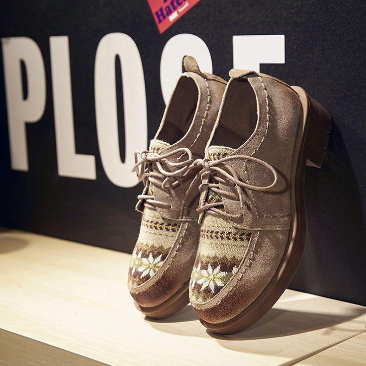 Salto Baixo das mulheres Flor Impresso Lace up Suede Oxfords de Couro Genuíno Marca Designer Lazer Alpercatas Sapatos de Alta Qualidade venda em Apartamentos das mulheres de Sapatos no AliExpress.com | Alibaba Group