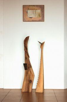 Bird King and Queen, walnut sculptures by Vladimír Matoušek  | Czech contemporary artist.