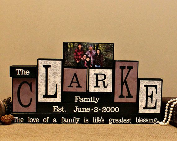 Custom Family Name Blocks - Home Decor Block - Gifts for Home - Personalized Housewarming Gift - Handmade In Canada - 6 Letters Name Sign
