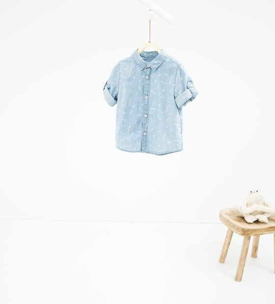 Image 1 of Printed shirt with roll-up sleeves from Zara