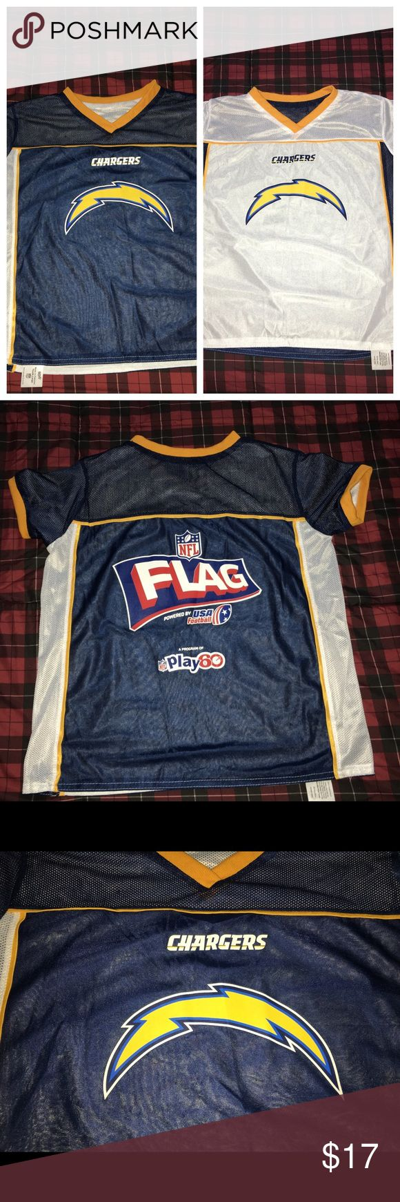 San Diego LA chargers flag football jersey SZ: L Thank you for viewing my listing, for sale is a youth, NFL flag play 60, San Diego/Los Angeles chargers reversible jersey.  Sz: L   If you have any questions or would like additional photos please feel free to ask. PLAY 60 Shirts & Tops