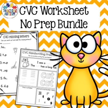 This CVC Worksheet pack consists of 68 no prep printable worksheets. There are a wide range of different no prep worksheets included in this pack all related to the theme of CVC while working on different skills.It includes: CVC handwriting practice - 25 pages Missing letters worksheet - 5 pages Scrambled letters worksheet - 5 pages Word to picture matching worksheet - 11 pages Code Word Cracker - 5 pages Word Search - 7 pages Read & Highlight - 10 pagesAll the resources included in this ...