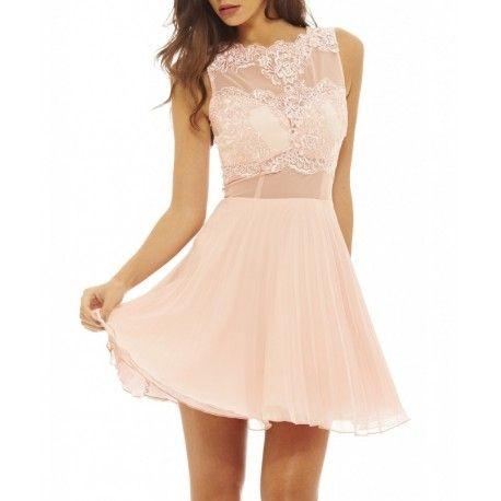 Różowa plisowana rozkloszowana sukienka na wesele z siateczką
