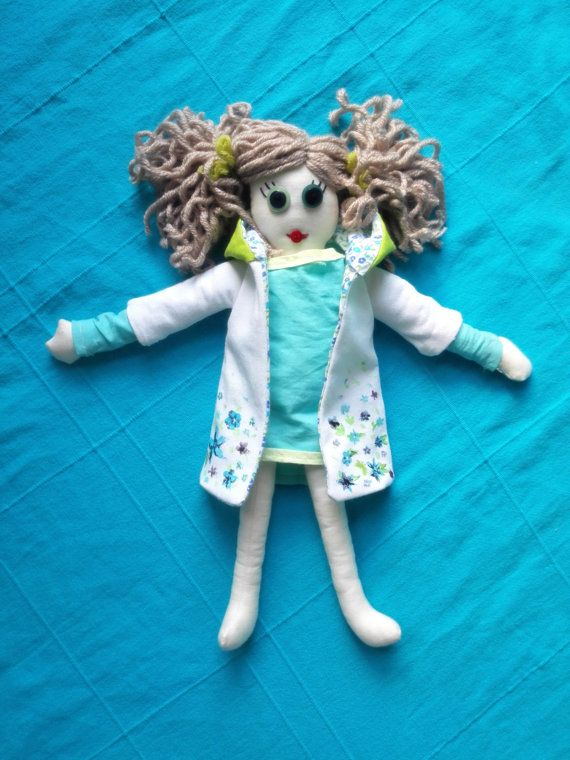 Handmade Rag doll ooak cloth rag doll with painted coat by Mehowka