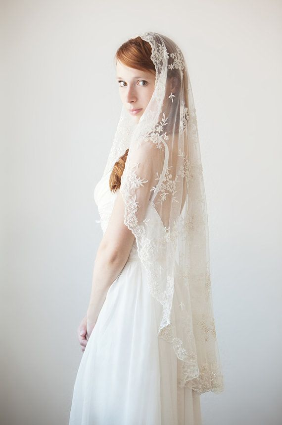 Timeless Romance  Small Mantilla Veil  Made to by sibodesigns, $259.00