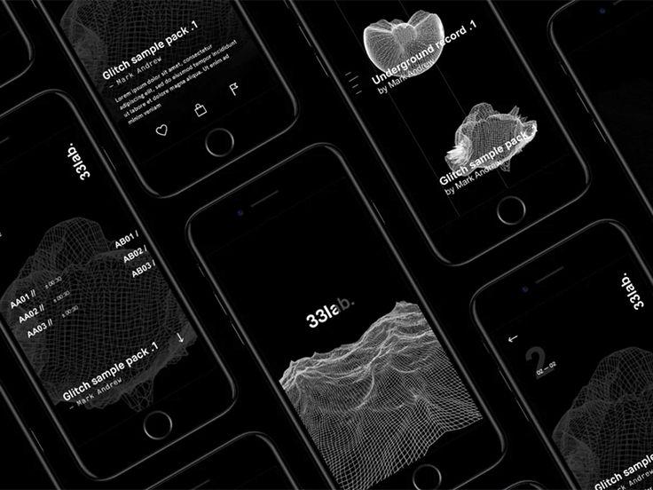 33lab — iOS app 2 by Vincent Battault & Bastien Rigaud https://dribbble.com/shots/3124407-33lab-iOS-app-2 #ui #design #app #dark #iphone #sound #experiment #3d