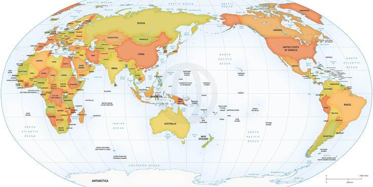Map of World political Robinson AsiaAustralia centered – Map World High Resolution