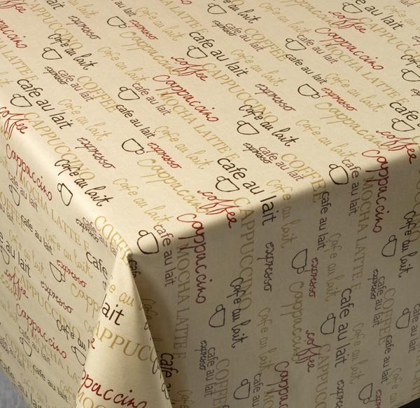 U0027Cafe Bistrou0027 Cotton Print Vinyl Covered Tablecloth