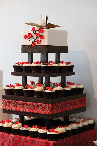 Asian Inspired Cupcake Tower