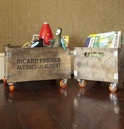 Vintage Storage Boxes as Baby Toy Storage- look for some at the antique store downtown