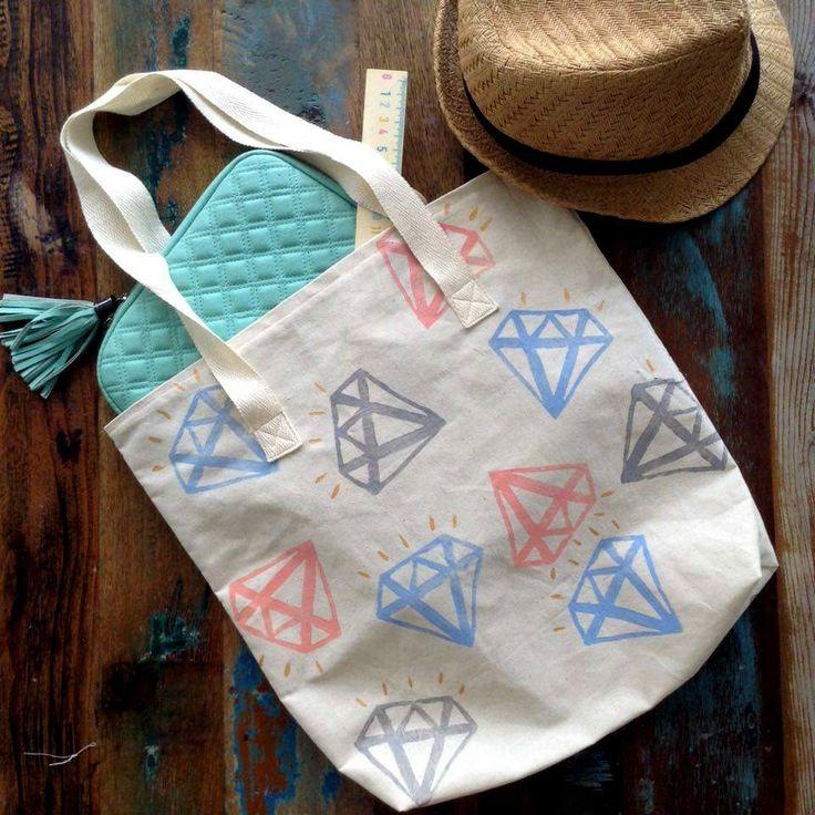 Tote Bag - Blue, Silver & Pink Diamonds Tote Bag - Block printed Tote Bag - Beige cotton Tote Bag - Handprinted Tote Bag by UniqueLulu on Etsy
