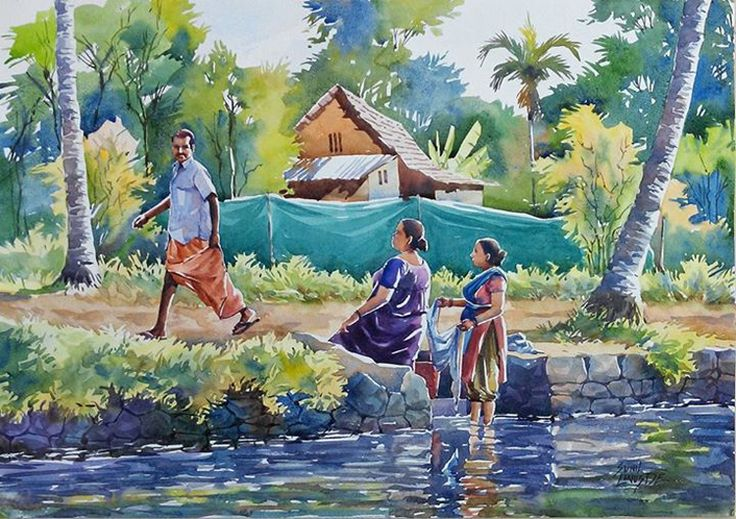 8_water_color_paintings_nostalgia_kerala_india_sunil_linus_de_women_washing_clothes.jpg (750×529)