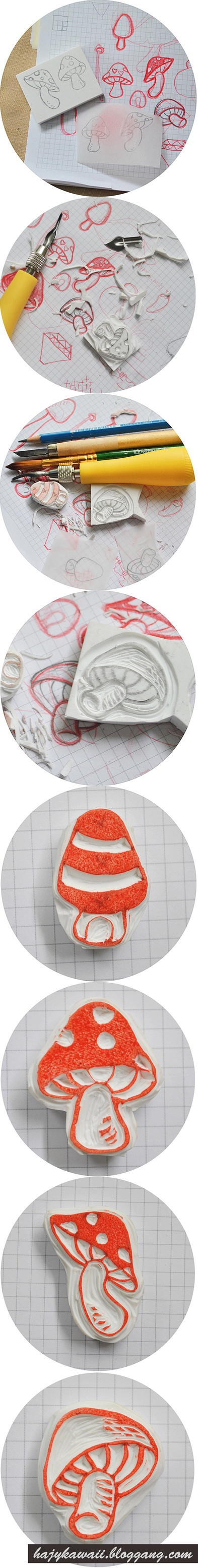 Mushroom Eraser stamp    Bloggang.com : Gin-GaL :
