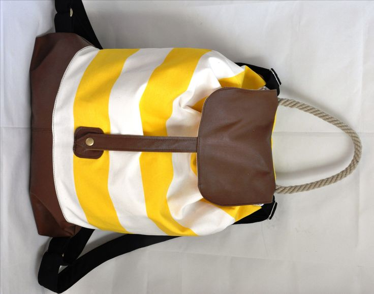 Yellow-white backpack combined with real leather