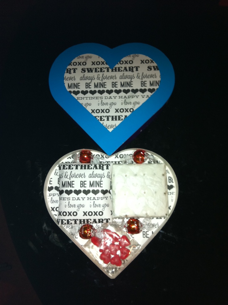 Valentine's present for my boyfriends. Recovered a chocolate box. Used a free printable paper - thankyou to contributor (sorry, can't remember who it was).