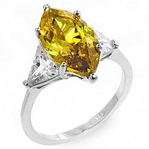 Inel din argint 925 placat cu rodiu cu aspect de aur alb.   Piatra din zirconiu galbena fatetata.   Acest inel este potrivit pentru diferite evenimente: aniversare, logodna, nunta, cocktail.   Culoare: Galben si Argintiu   Metal: Argint 925   Piatra Cubic ZIrconia   Lungime piatra mare: 1.6 cm   Latime piatra mare: 0.85 cm   Latura piatra triunghiulara: 0.6 cm   Greutate: 3.7 g  $72Lei