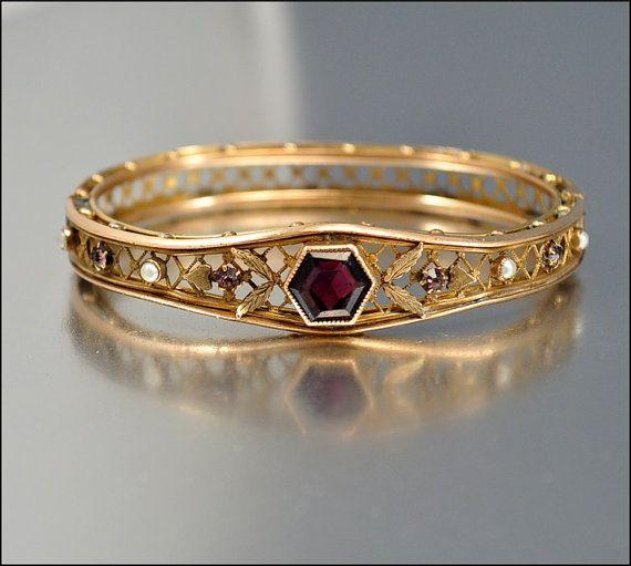 Edwardian Bracelet Antique Jewelry Gold Bangle Pearl