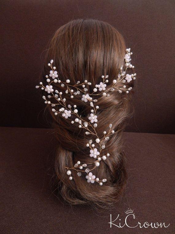 Vid, vid largo novia nupcial del pelo tocado de novia perla cristal cabello vid…