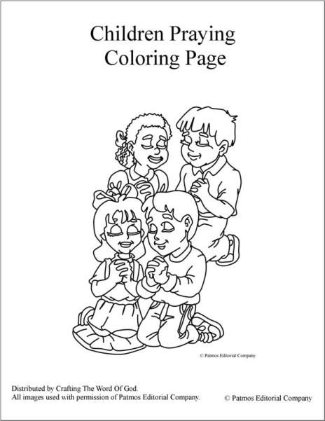 Children Praying Coloring Pages For Kids Sketch Coloring Page
