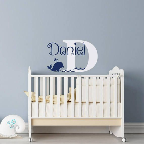 Whale Name Wall Decal Boy Personalized Whale Nursery Decor Etsy In 2020 Whale Nursery Decor Name Wall Decals Nautical Nursery Decor