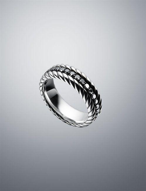 David Yurman Men Rings Black Diamond Band Ring 7 8mm