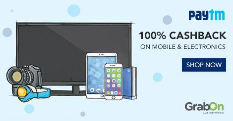 Epic Electronics & Mobile Sale @ #Paytm. Now Get 100% Cashback On All Electronics http://www.grabon.in/paytmelectronics-coupons/ #PaytmKaro