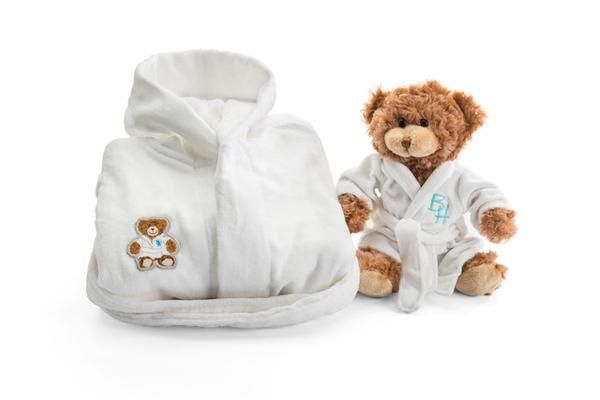 Plush Robe & Bixby for the little man  $ 75.00 This cozy bathrobe awaits your little prince at bedtime. He'll look just like England's Prince George but feel even more royal carrying his adorable Bixby the Beverly Hills Bear in his matching robe. This soft terry, hooded robe comes complete with our Bixby emblem. A perfect gift for all the young gents in your life.