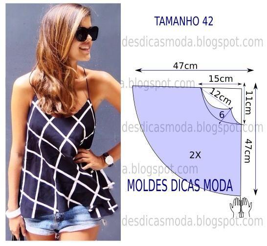 Com base na imagem desenhe o molde de blusa com alça. A ilustração do molde de blusa não tem valor de costura. Observe atentamente o desenho ou modelo...