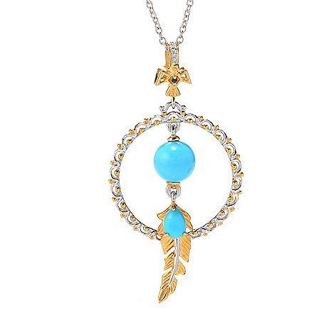 159-647 - Gems en Vogue Sleeping Beauty Turquoise & Gem Dream Catcher Pendant w/ Chain