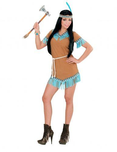 Disfraz india marrón y azul mujer
