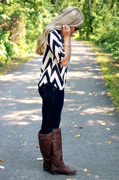 Spring, fall, dark skinny jeans, black and white shirt, brown boots