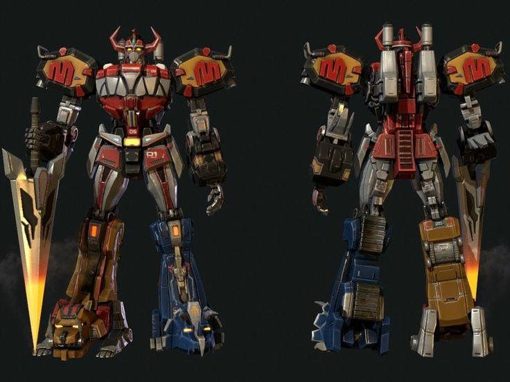 The Megazord robot in an updated look. However this version will not be used for the upcoming MMPR movie. Sigh.
