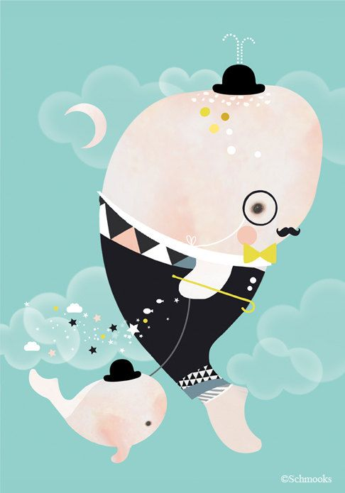 Children's nursery art, modern black and white, geometric, whale print - 'Monsieur Whale' by Schmooks