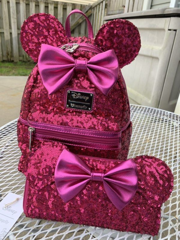 f073898d3c1 Disney Loungefly Sequined Minnie Mouse Pink Sequin Ears Mini Backpack    Wallet