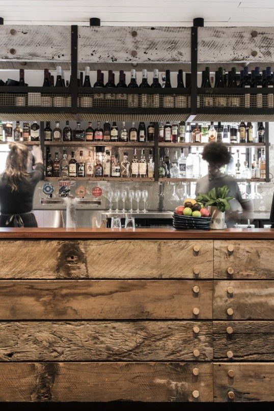 rustic and industrial bar design in Australia, recycled timber bar counter
