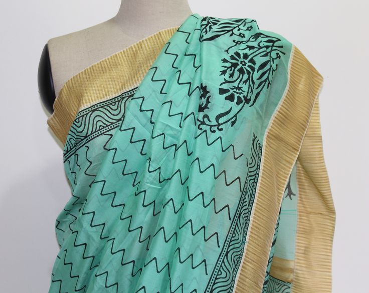 Green and black Hand block printed Chanderi saree. To buy this saree drop a message.
