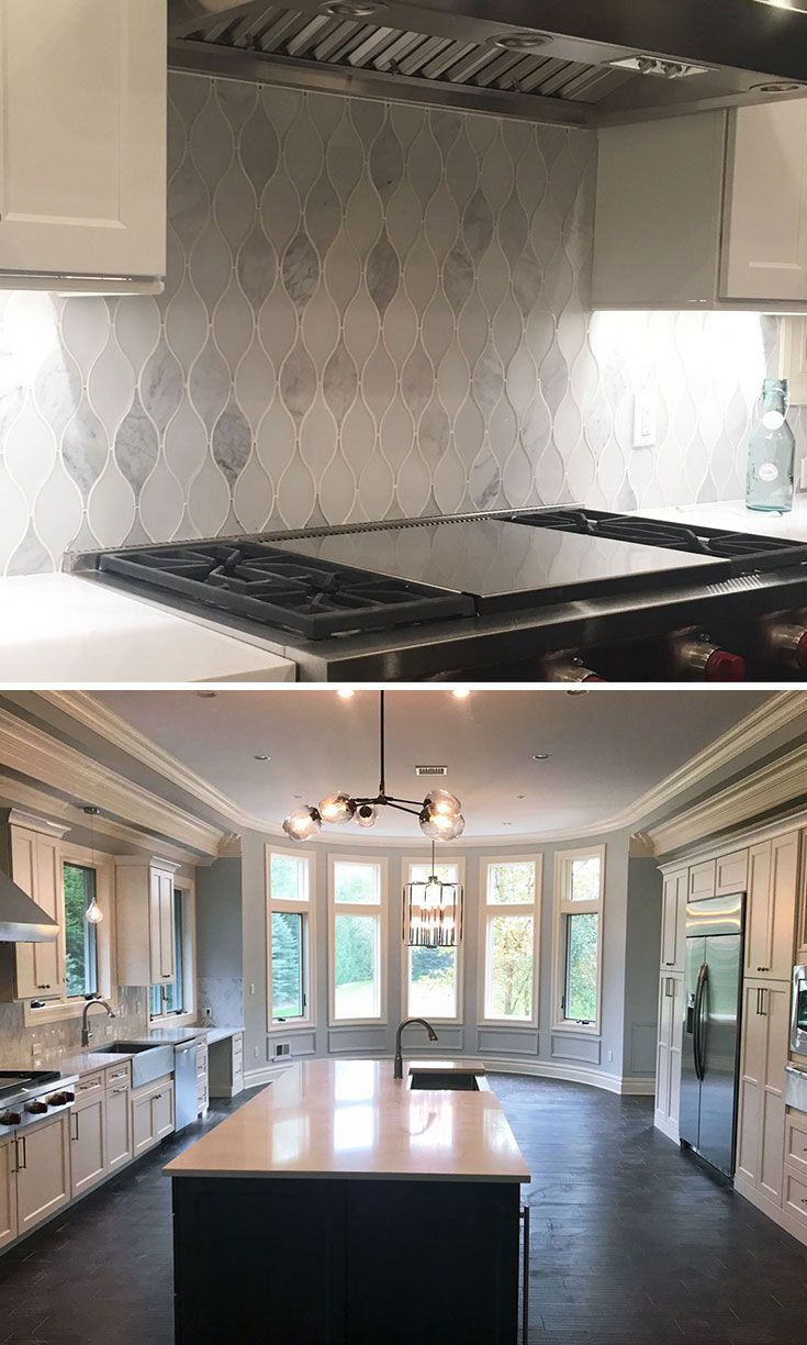 Chandelier Carrara Teardrop Glass Mosaic Tile Luxury Kitchen