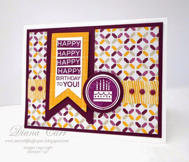 Stampin' Up! Amazing Birthday Card - Moonlight DSP - Banners Framelits