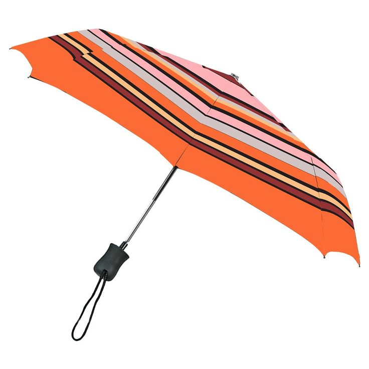 Auto Open Compact Umbrella - Pink Stripe, Salon Pink