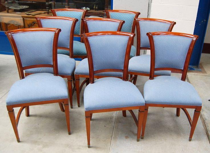 8 sedie in ciliegio in stile Luigi XVI '900 imbottite