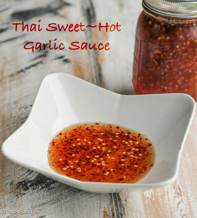 Thai Sweet Hot Garlic Sauce is very easy and lasts forever in the fridge. It is a necessity for spring rolls, and delicious on grilled chicken, pad Thai, fried rice, and a host of other dishes as well.