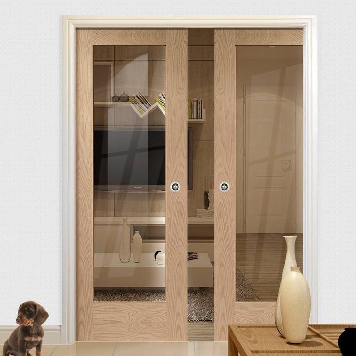 Double Pocket Pattern 10 Oak 1 Pane Door with Clear Safe Glass & 104 best Glazed Pocket Door Pairs images on Pinterest | Pocket ... Pezcame.Com
