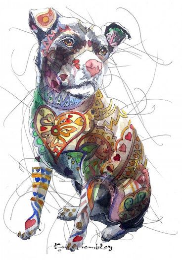 Heart dog print of watercolor painting  8x10 deco dog doodles art pit bull by KrisTrembleyGallery on Etsy https://www.etsy.com/listing/511635645/heart-dog-print-of-watercolor-painting