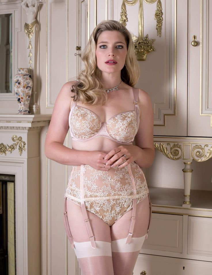 Harlow and Fox. Luxury, embroidered bridal lingerie with blush silk accents for full busts.