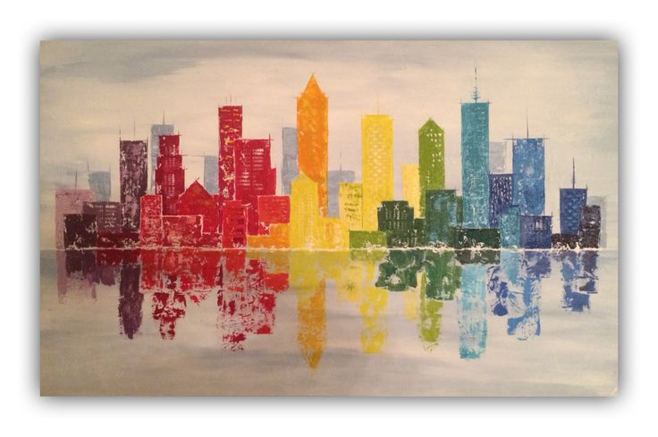 City skyline, abstract painting 120x70cm, acrylic by Erica Willemsen