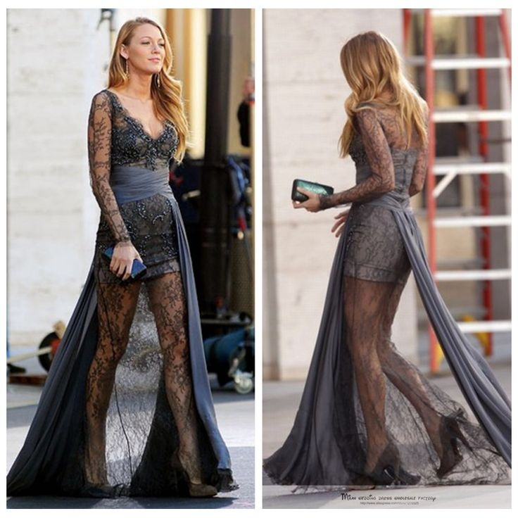Celebrity red carpet dress Gossip Girl fashion Blake Lively Full Lace Formal Gown long-sleeved gray high - low prom dresses