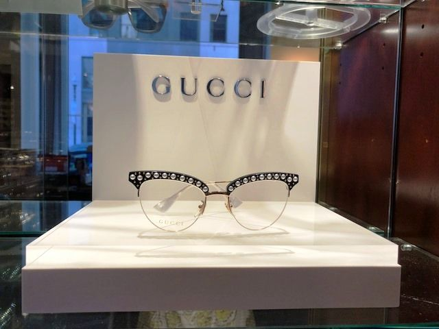 6899d2ca159  FabFrame arrival from  Gucci. Black acetate frame with gold metal and  pearl-effect studs. Made in Italy. Glasses arrive in a velvet hardshell  case with ...