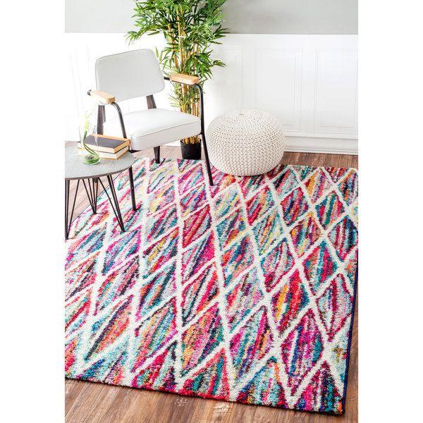 nuLOOM Contemporary Rainbow Striped Trellis Multi Kids Rug (4'1 x 6')