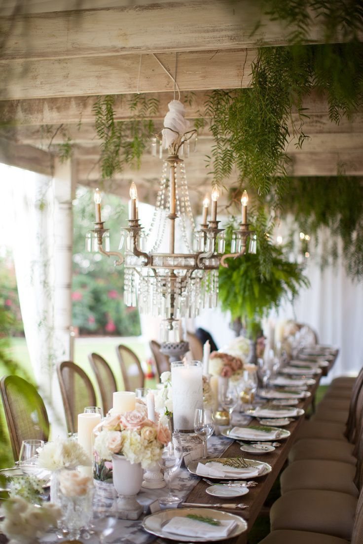 Design Chic - chandelier for sunroom http://www.mydesignchic.com/2014/04/dining-alfresco/