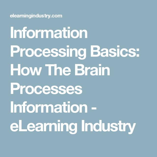 Information Processing Basics: How The Brain Processes Information - eLearning Industry